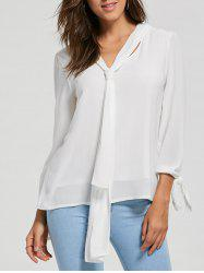 Chiffon Blouse with Optional Tie - WHITE S