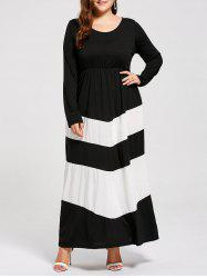 Plus Size Long Sleeve Striped Maxi Dress