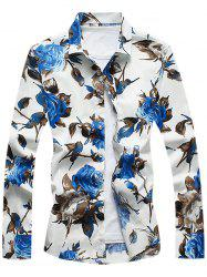 Casual Turndown Collar Floral Shirt
