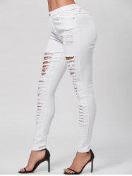 Distressed Pencil Skinny Jeans - WHITE M