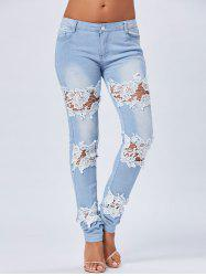 Skinny Lace Trim Light Wash Jeans - BLUE