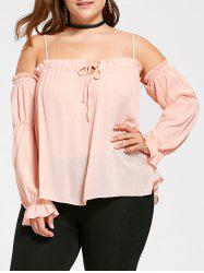 Plus Size Flounced Dew Shoulder Blouse