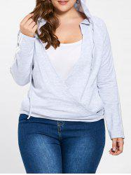 Plus Size Vertical Pocket Drawstring Neck Hoodie