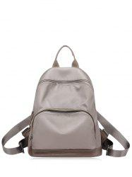 Color Block Nylon Zippers Backpack