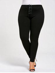 Skinny Plus Size Lace Up Leggings - BLACK