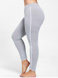 Single Stripe Plus Size Skinny Leggings - GRAY