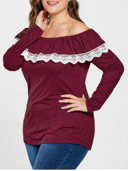 Plus Size Off The Shoulder Long Sleeve Tee