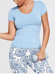 Breathable Marled V Neck Sports T-shirt - BLUE 2XL