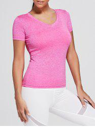 Breathable Marled V Neck Sports T-shirt -