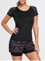 Camouflage Sports Short Sleeve Raglan Tee