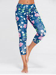 Rose Floral Print Sports Leggings