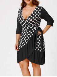 Plus Size Polka Dot Print Wrap Dress