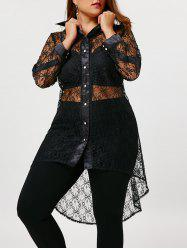 Plus Size Sheer High Low Lace Shirt