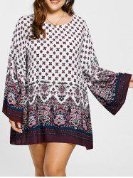Plus Size Bell Sleeve Mini Bohemian Dres