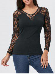 Long Sleeve Lace Insert T-shirt - BLACK L