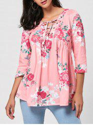 Floral V Neck Lace Up Blouse