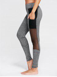See Through Mesh Panel Fitness Tights - GRAY S