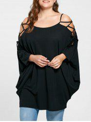 Plus Size Open Shoulder Longline Baggy Top - BLACK