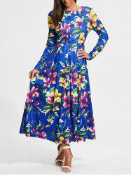 Full Flower Print Long Sleeve Maxi Dress - COLORMIX
