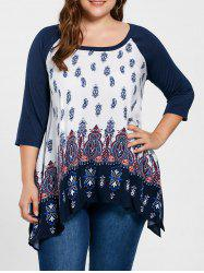 Plus Size Paisley Crescent Hem Top - PURPLISH BLUE 2XL