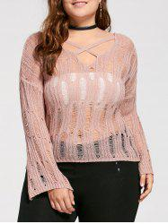 Plus Size Sheer Cutout Distressed Sweater