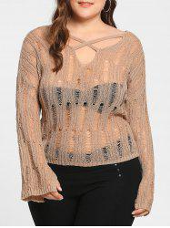Plus Size Sheer Cutout Distressed Sweater - APRICOT ONE SIZE
