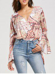Surplice Bell Sleeve Bowknot Printed Blouse