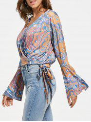 Bowknot Surplice Bell Sleeve Blouse