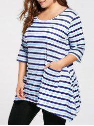 Plus Size Pocket Asymmetric Striped Tunic T-shirt