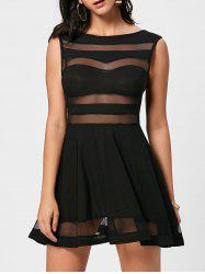 Mesh Insert Sheer Short Skater Dress
