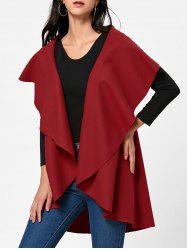 Open Front Wool Blend Sleeveless Cape
