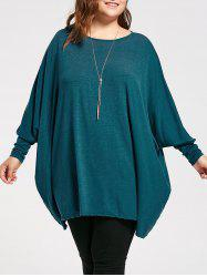 Plus Size Long Batwing Sleeve Poncho T-shirt