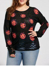 Plus Size  Halloween Pumpkin Ripped Sweater