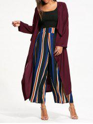 Split Back Longline Waterfall Coat - BORDEAUX