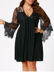 Plus Size Lace Sleeve Holiday Dress - BLACK 5XL