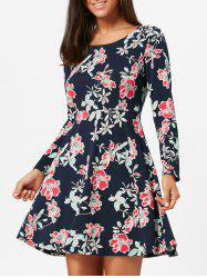 Floral Print Long Sleeve Skater Dress