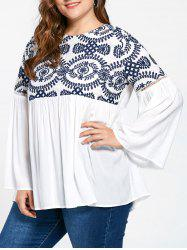 Embroidery Flare Sleeve Plus Size Bohemian Blouse