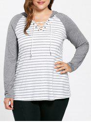 Plus Size Ralgan Sleeve Lace Up Striped Hooded T-shirt