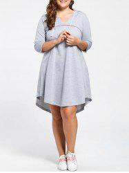 Plus Size Hooded Drawstring Neck Jersey Dress -