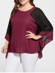 Plus Size Batwing Sleeve Two Tone Blouse
