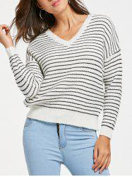 Drop Shoulder Striped V Neck Sweater