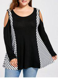Stripe Insert Plus Size Open Shoulder Top