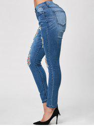Whisker Wash Distressed Skinny Jeans