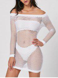 Long Sleeve Off The Shoulder Sheer Dress - WHITE S