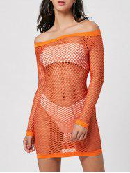 Long Sleeve Off The Shoulder Sheer Dress - JACINTH L