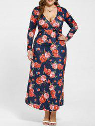 Plunging Neck Long Sleeve Plus Size Floral Dress
