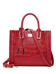 Textured Leather Weave Tote Bag -