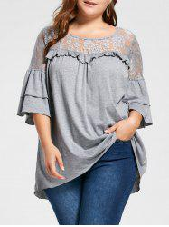 Plus Size Lace Yoke Flounced Tunic Top -