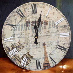 Eiffel Tower Wood Round Analog Wall Clock - BEIGE 50*50CM