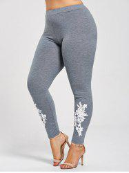 Leggings Moulants à Applique en Jersey Grande Taille - Gris 5XL